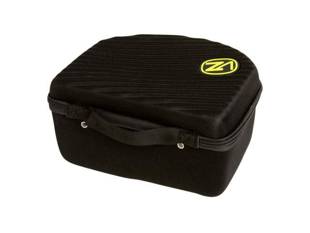 VonZipper EVA ski goggle organizer case with webbing handle rubber patch logo and die cutting foam interior