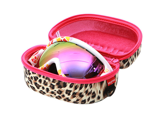 XXL STYLE ski goggle storage case leopard design fabric covering with plastic D ring