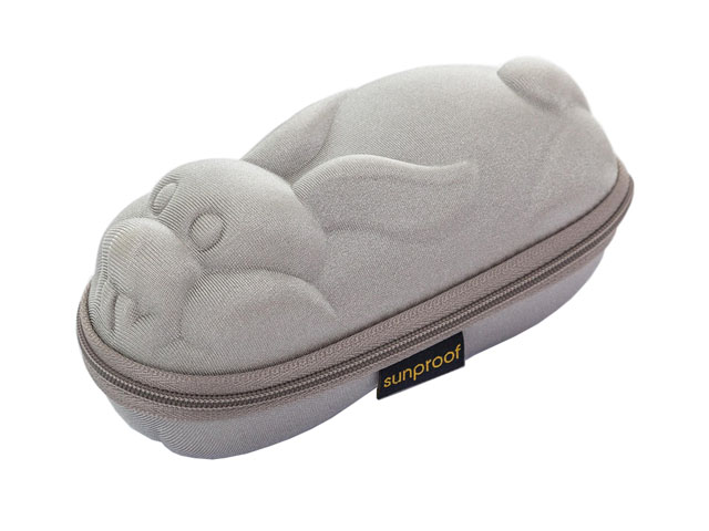 SUNPROOF EVA swim goggle travel hard case with soft touching fabric silver rabbit shaped