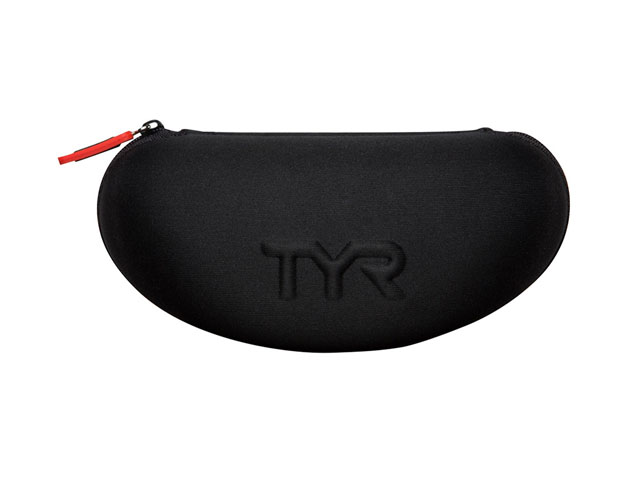 TYR EVA swimming goggle pouch nylon coated with embossed logo and convenient drainage holes for quick drying